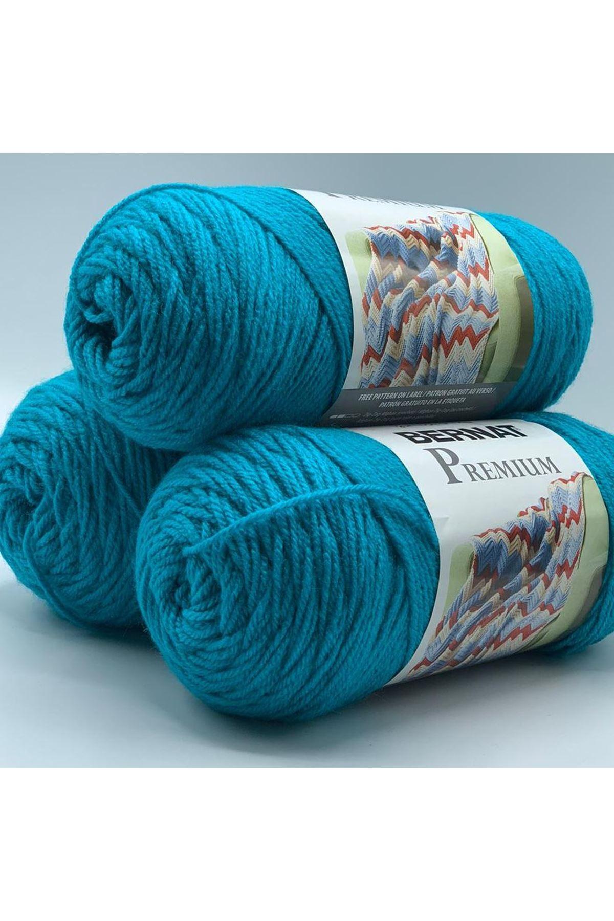 3'lü Paket Orijinal Bernat Premium Akrilik 600 gram 1142 Mavi