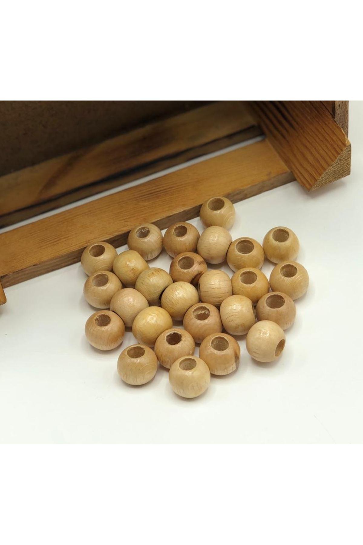 Ahşap Boncuk 24 mm Cilalı 100 gram