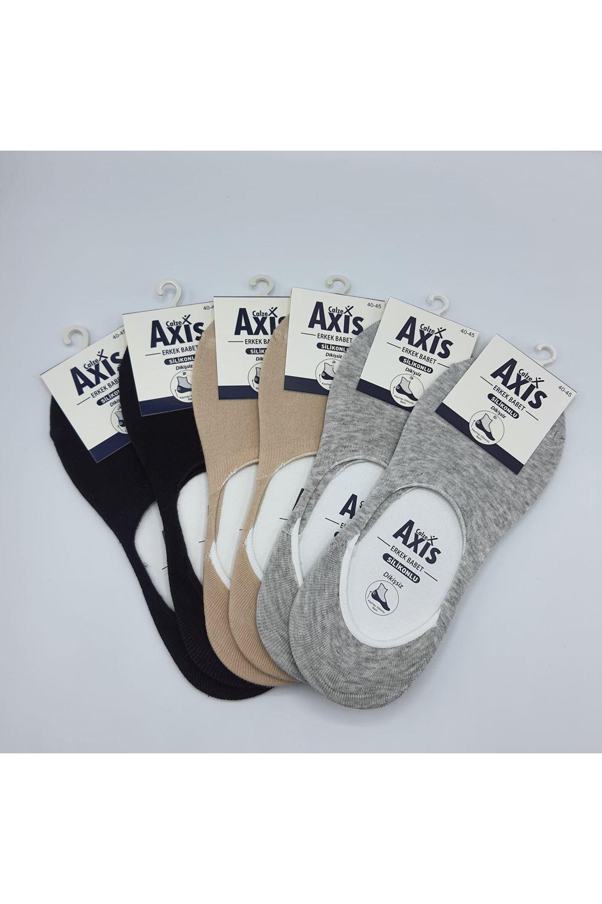 Altılı Erkek Babet Çorap Siyah Gri Bej
