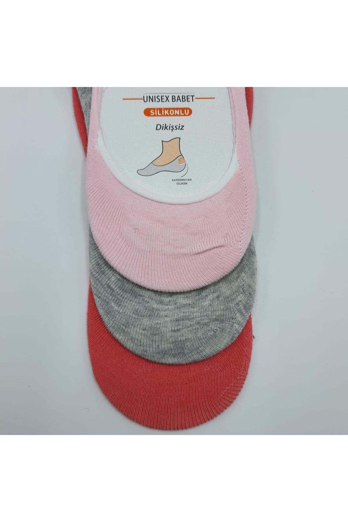 Altılı Kadın Babet Çorap Pembe Kırmızı Gri